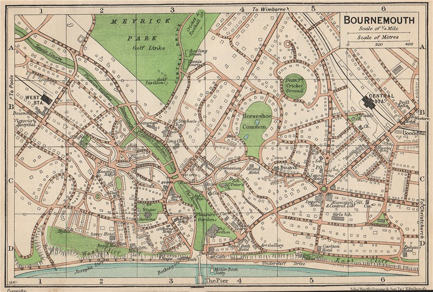 Associate Product BOURNEMOUTH. Vintage town city map plan. Dorset 1950 old vintage chart