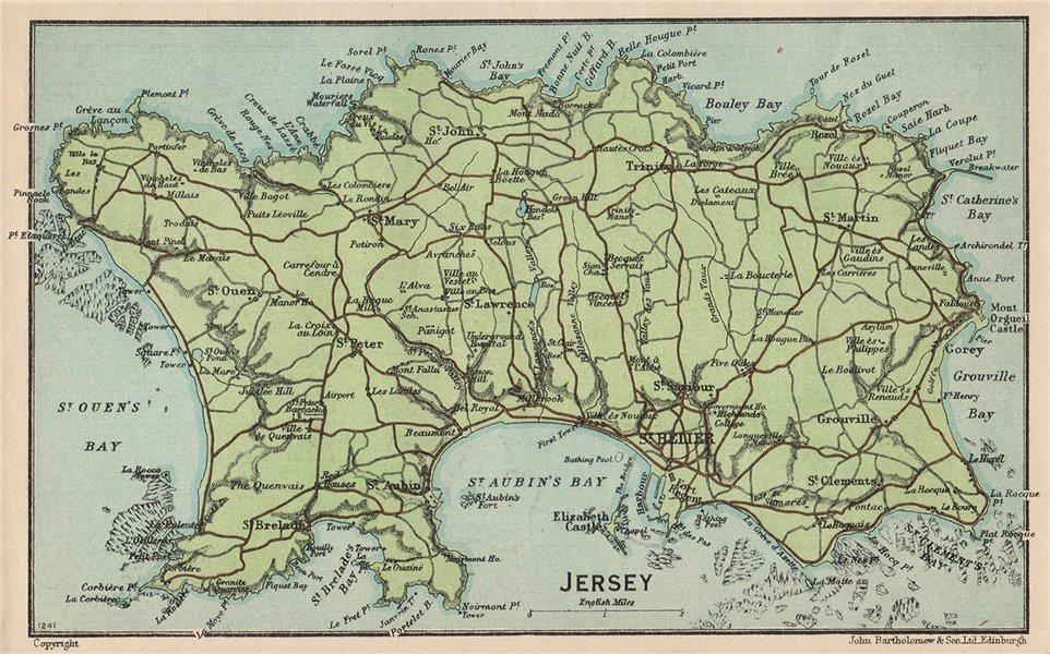 Associate Product JERSEY. Vintage map plan. Channel Islands. St Helier 1950 old vintage