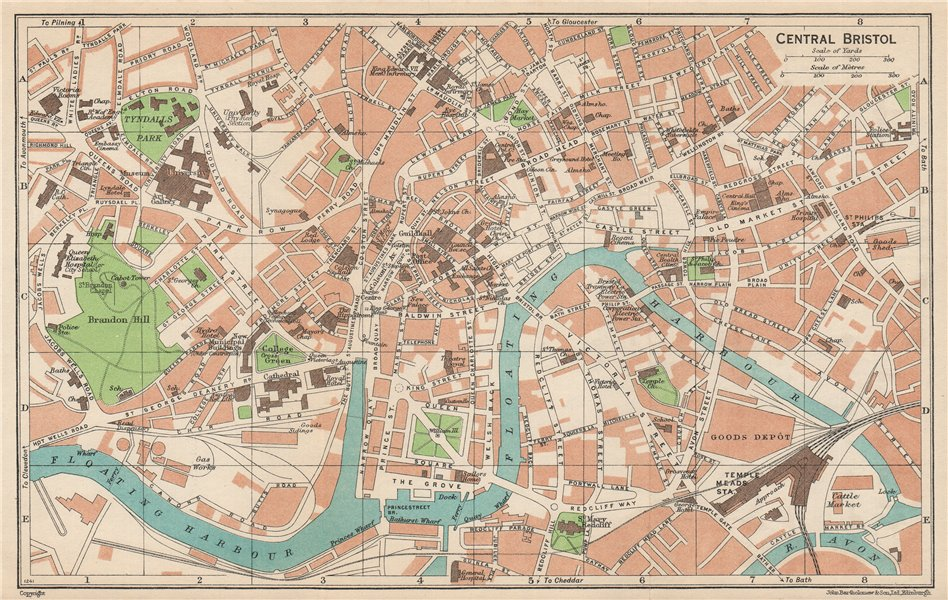 Associate Product BRISTOL CENTRAL. Vintage town city map plan. Gloucestershire 1950 old
