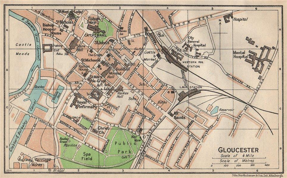 Associate Product GLOUCESTER. Vintage town city map plan. Gloucestershire 1950 old vintage