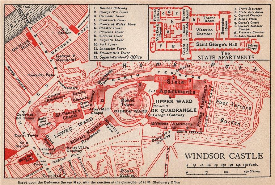 Associate Product WINDSOR CASTLE. Vintage map plan. Berkshire 1950 old vintage chart