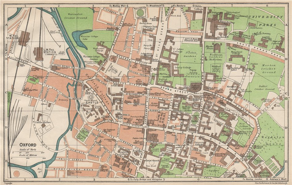OXFORD. Vintage town city map plan. Oxfordshire. Colleges 1950 old vintage