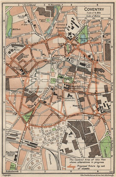 Associate Product COVENTRY. Vintage town city map plan. Warwickshire 1950 old vintage chart