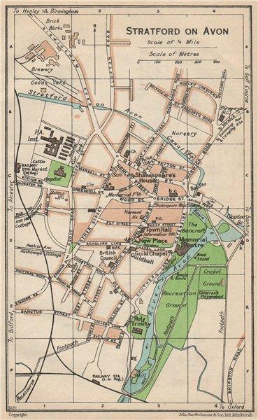 STRATFORD ON AVON. Vintage town city map plan. Warwickshire 1950 old
