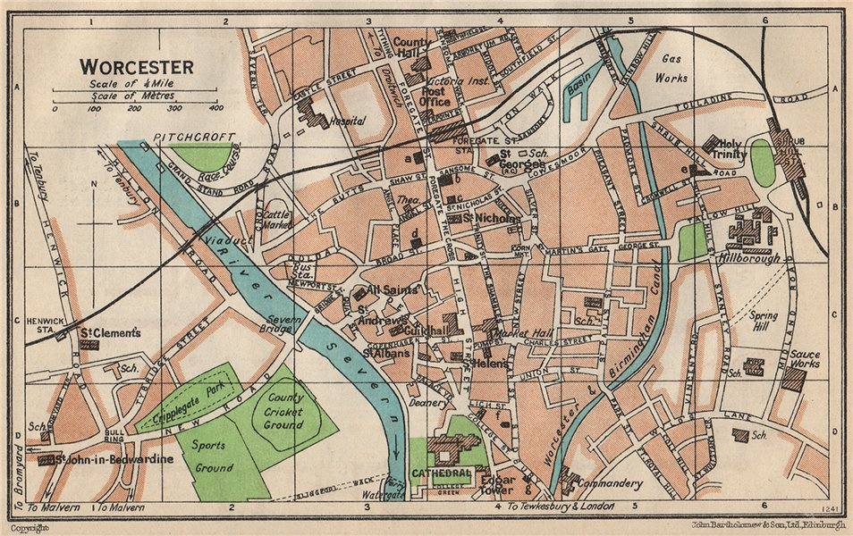 Associate Product WORCESTER. Vintage town city map plan. Worcestershire 1950 old vintage