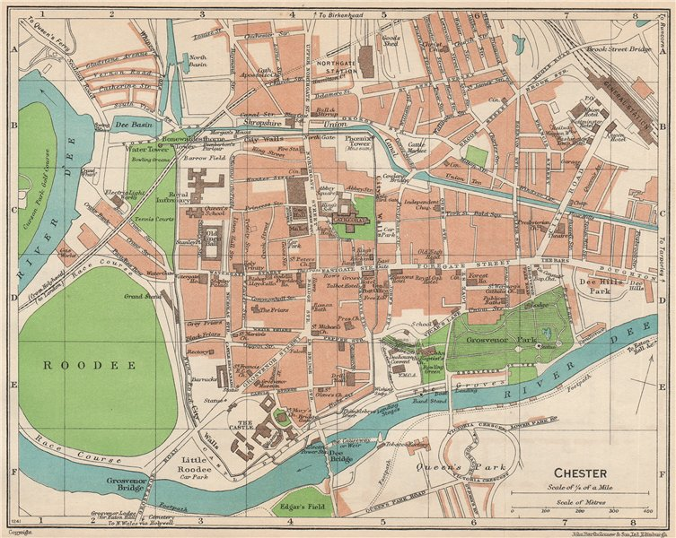 Associate Product CHESTER. Vintage town city map plan. Cheshire 1950 old vintage chart
