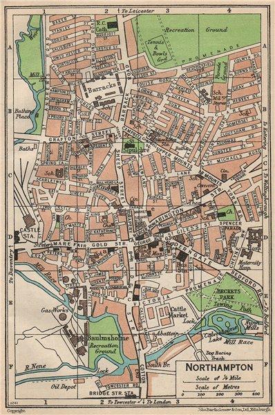 Associate Product NORTHAMPTON. Vintage town city map plan. Northamptonshire 1950 old vintage