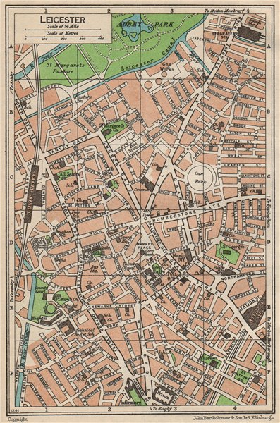 LEICESTER. Vintage town city map plan. Leicestershire 1950 old vintage