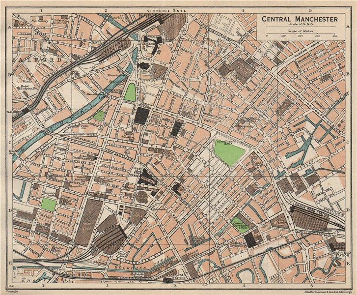 Associate Product CENTRAL MANCHESTER. Vintage town city map plan. Lancashire 1950 old