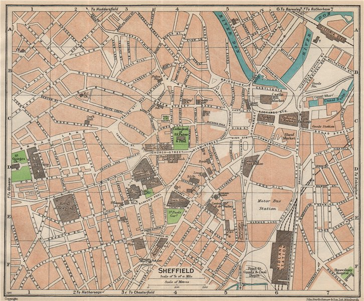 Associate Product SHEFFIELD. Vintage town city map plan. Yorkshire 1950 old vintage chart