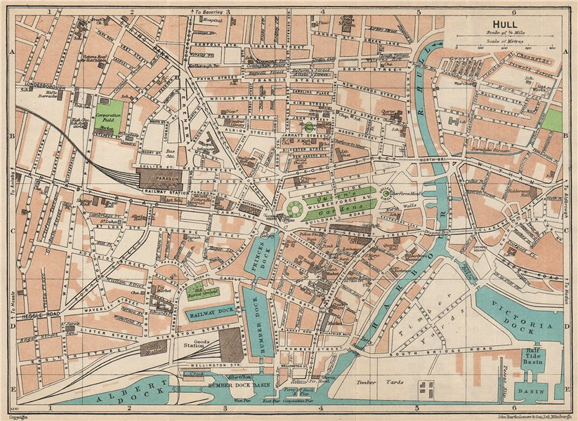 Associate Product HULL. Vintage town city map plan. Yorkshire 1950 old vintage chart