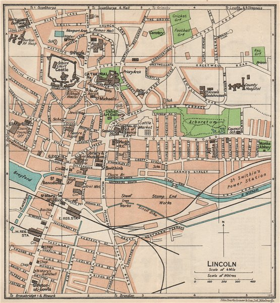 Associate Product LINCOLN. Vintage town city map plan. Lincolnshire 1950 old vintage chart