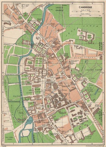 Associate Product CAMBRIDGE. Vintage town city map plan. Cambridgeshire. Colleges 1950 old