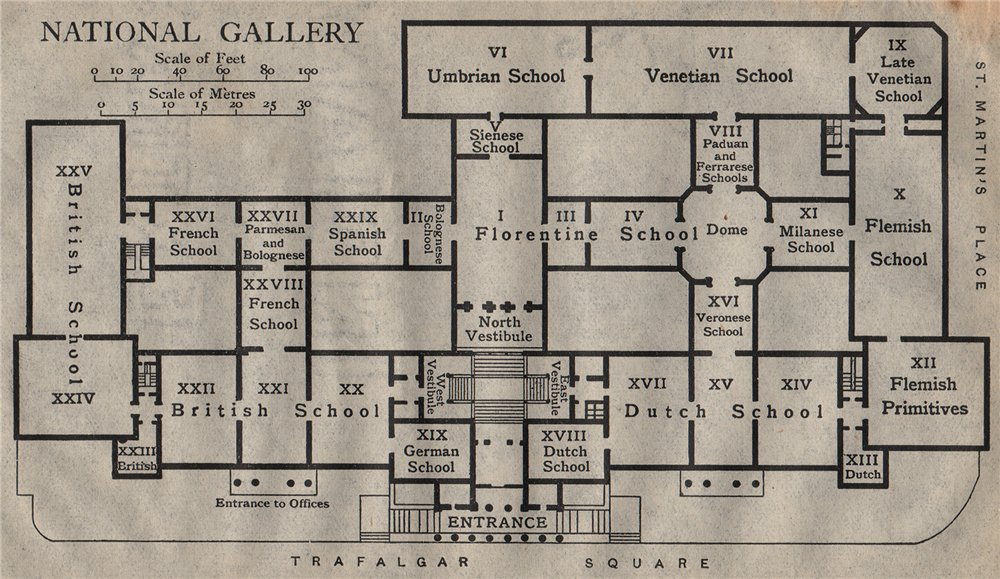 Associate Product NATIONAL GALLERY. Vintage map plan. London 1919 old vintage chart