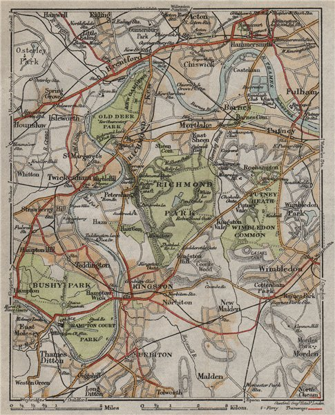 Associate Product SW LONDON. Richmond Barnes Kingston Chiswick Wimbledon Kew Bushy Park 1919 map