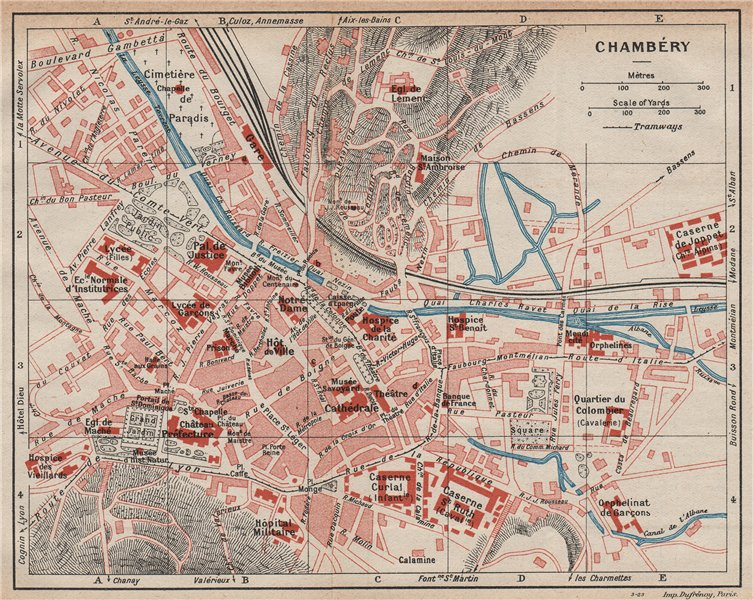 Associate Product CHAMBÉRY. Vintage town city map plan. Savoie 1923 old vintage chart