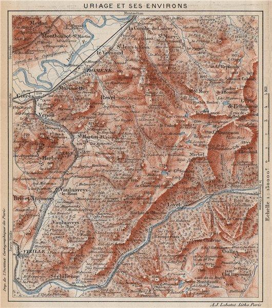 Associate Product URIAGE & ENVIRONS. Vizille Domène Livet Chamrousse. Vintage map. Isère 1923