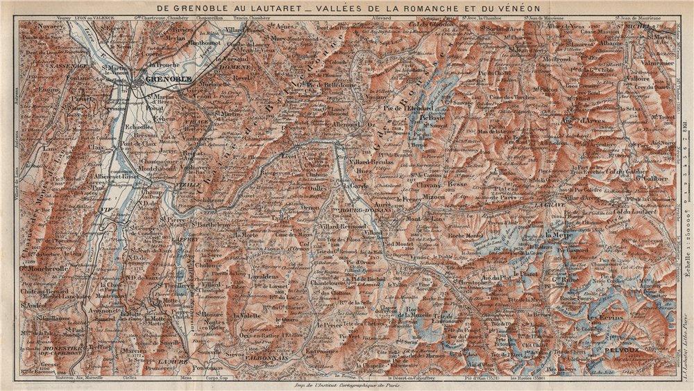 Associate Product VALLÉES DE LA ROMANCHE & DU VÉNÉON.Grenoble-Lautaret.Alpe d'Huez.Isère 1923 map