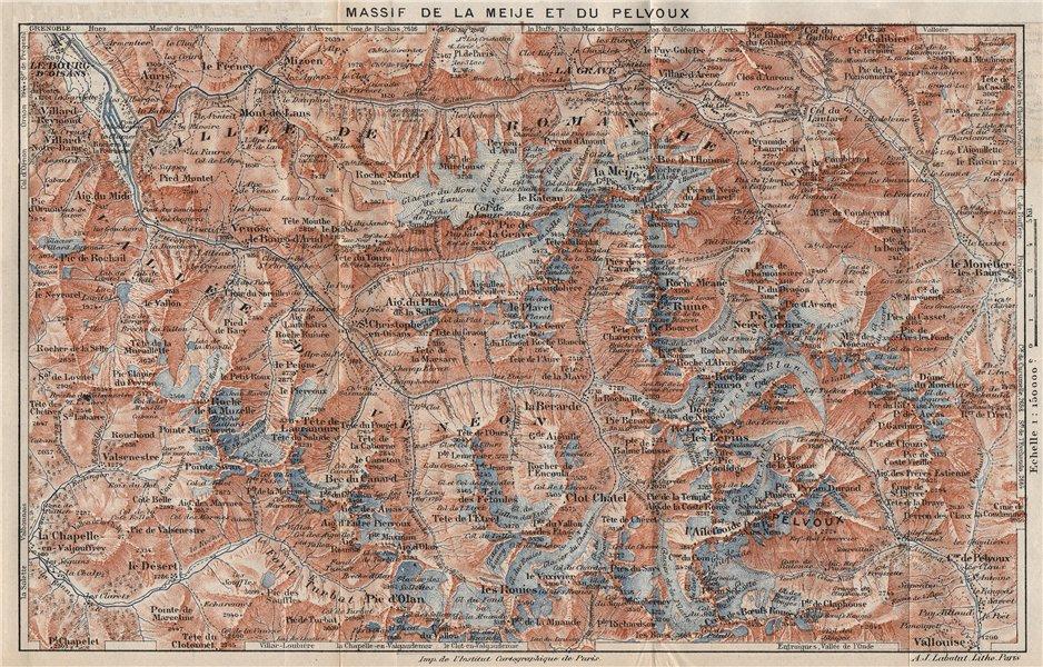 Associate Product MASSIF DE LA MEIJE ET DU PELVOUX. Vintage map plan. Hautes-Alpes 1923 old
