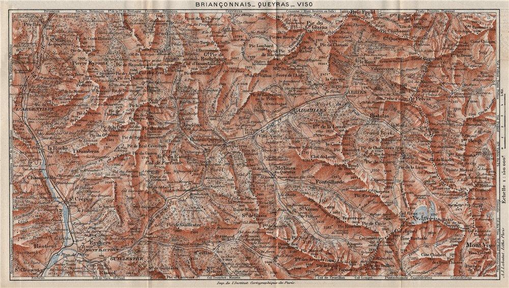 BRIANÇONNAIS QUEYRAS MONT-VISO. Vintage map plan. Écrins. Hautes-Alpes 1923