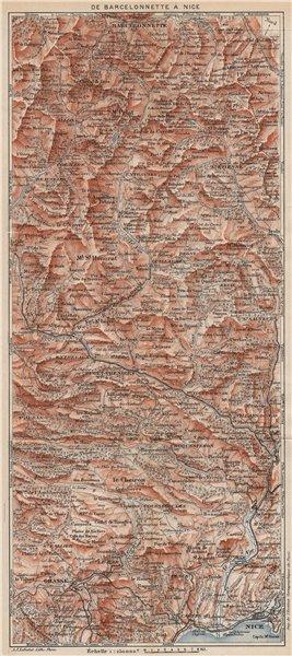 Associate Product BARCELONNETTE-NICE.Isola Allos Auron.Alpes-De-Haute-Provence/Maritimes 1923 map