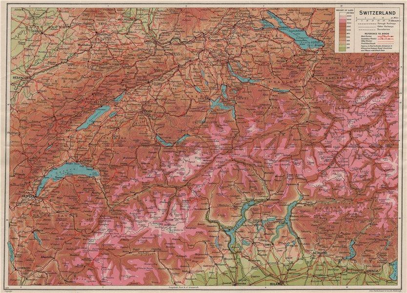 Associate Product SWITZERLAND RELIEF. Vintage map plan. Roads. Suisse Schweiz 1930 old
