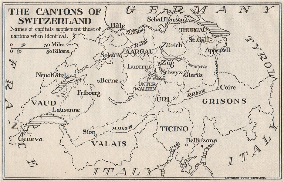 Details about THE CANTONS OF SWITZERLAND. Vintage map plan. Cities Towns  1930 old
