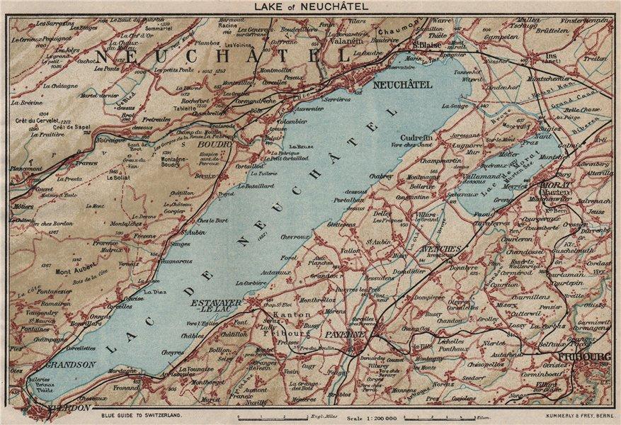 LAKE OF/LAC DE NEUCHÂTEL. Switzerland. Neuchatel Fribourg Yverdon 1930 old map