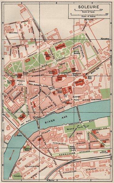 Associate Product SOLEURE. Vintage town city map plan. Switzerland 1930 old vintage chart