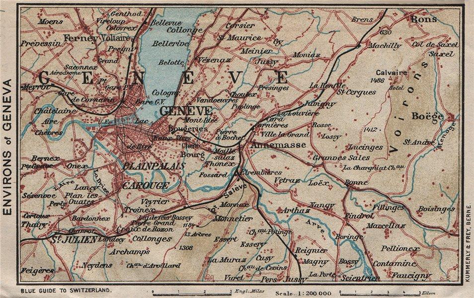Associate Product ENVIRONS OF GENEVA GENÈVE GENF. Vintage map plan. Switzerland 1930 old