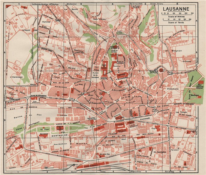 Associate Product LAUSANNE. Vintage town city map plan. Switzerland 1930 old vintage chart