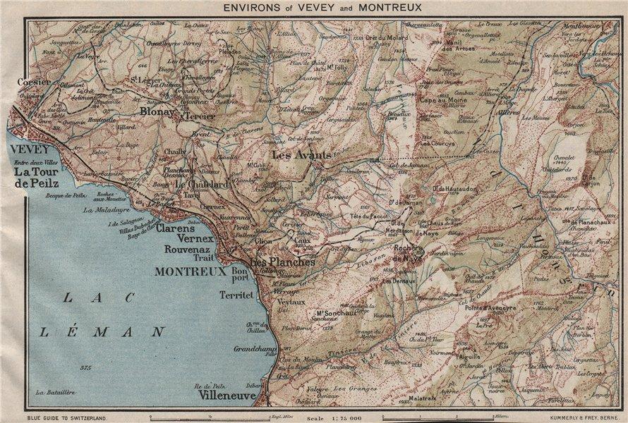 Associate Product VEVEY & MONTREUX ENVIRONS. Lac Leman. Lake Geneva. Vintage map Switzerland 1930