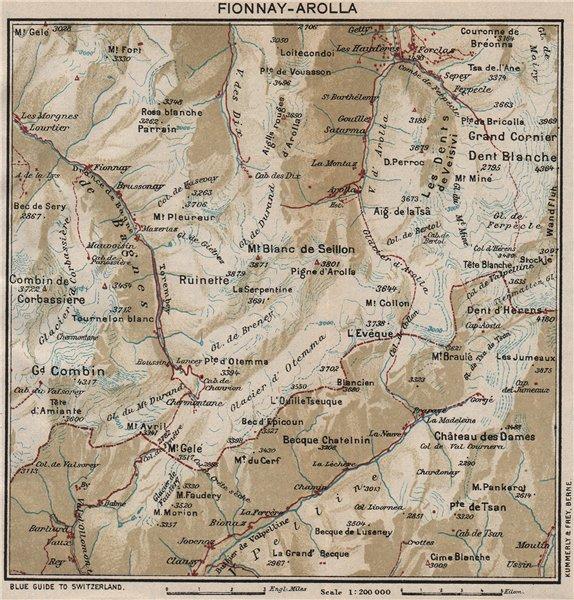 Associate Product FIONNAY-AROLLA. Vintage map plan. Les Haudères. Switzerland 1930 old