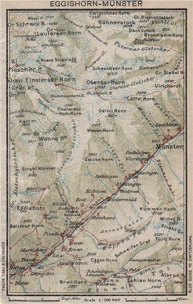 EGGISHORN-MÜNSTER-GESCHINEN. Ernen Fiesch Bellwald. Switzerland 1930 old map
