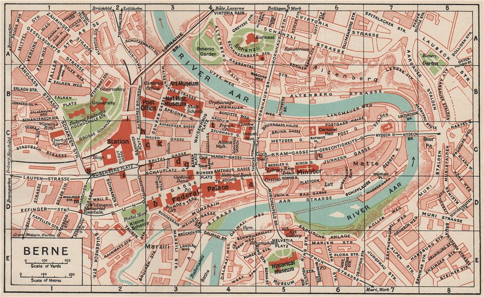 Associate Product BERNE. Vintage town city map plan. Switzerland. Berne 1930 old vintage