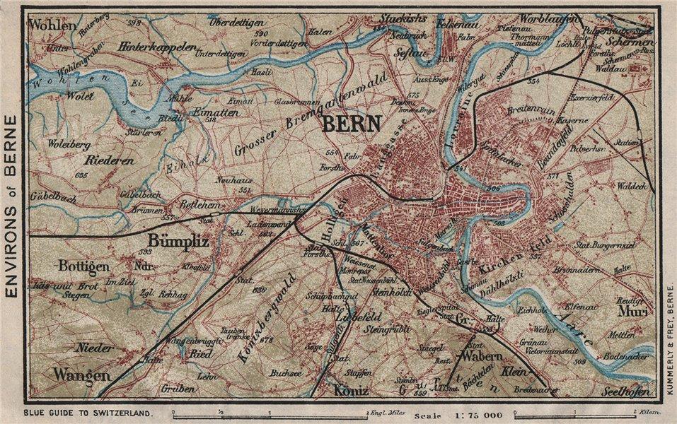 Associate Product BERNE BERNE ENVIRONS. Bümpliz Ostermundigen. Vintage map. Switzerland 1930