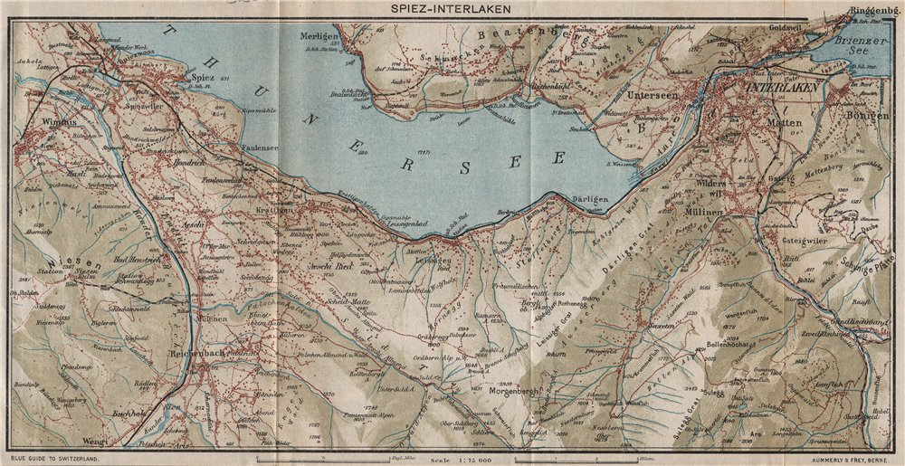 Associate Product SPIEZ-INTERLAKEN. Beatenberg Aeschi Thunersee. Vintage map. Switzerland 1930