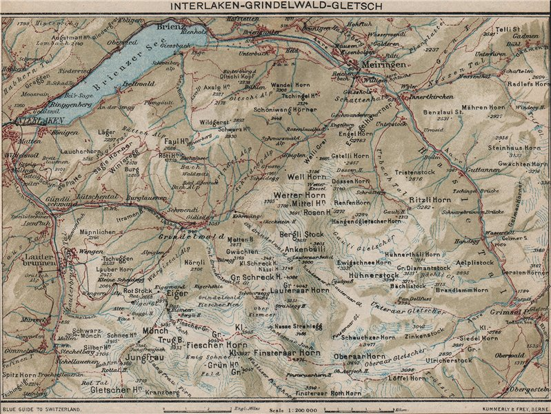 Associate Product INTERLAKEN-GRINDELWALD-GLETSCH. Brienz Axalp Jungfrau Wengen Mürren 1930 map