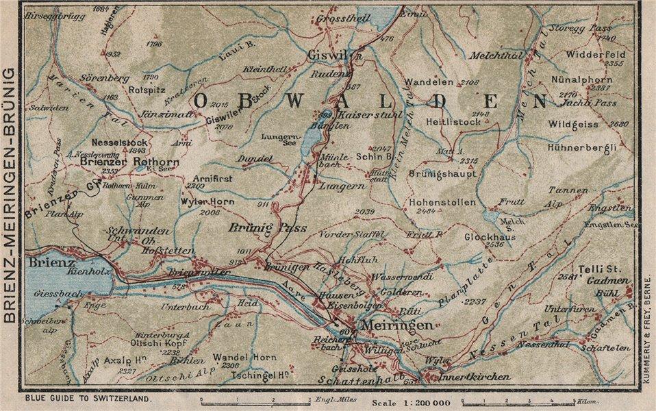 Associate Product BRIENZ AXALP MEIRINGEN BRÜNIG. Lungern Bürglen. Vintage map. Switzerland 1930