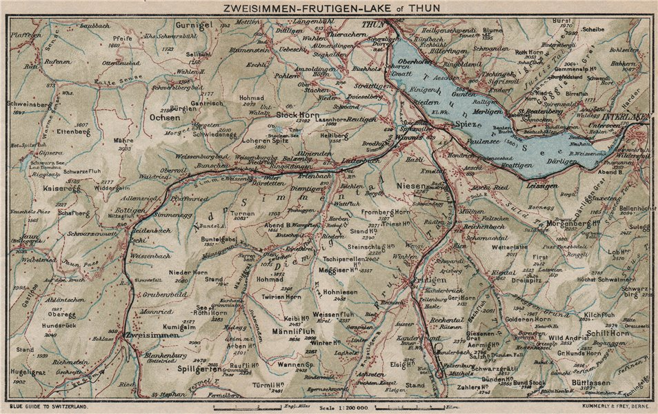 Associate Product ZWEISIMMEN FRUTIGEN THUNERSEE. Interlaken Spiez Kienthal Aeschi 1930 old map