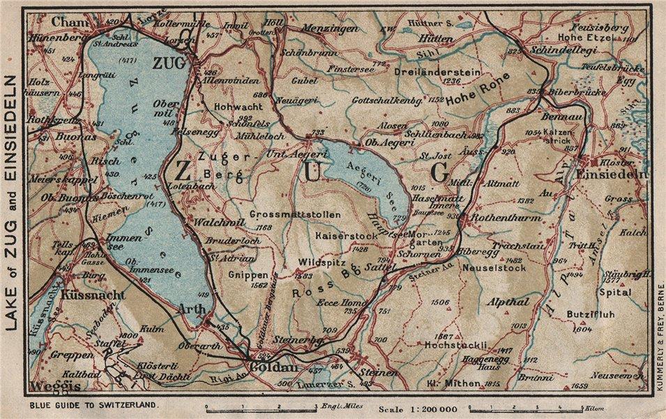 Associate Product LAKE OF ZUG AND EINSIEDELN. Cham Goldau Küssnacht. Vintage map. Switzerland 1930