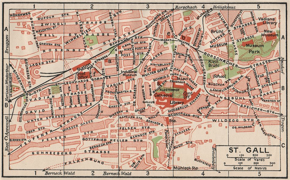 Associate Product ST-GALL ST-GALLEN. Vintage town city map plan. Switzerland 1930 old