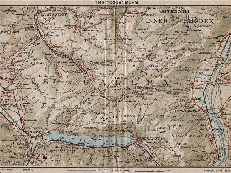 Associate Product TOGGENBURG. Walensee Filzbach Flumserberg Ebenalp Alt St Johann 1930 old map