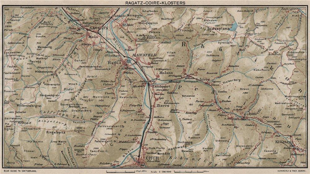 Associate Product RAGATZ-CHUR-KLOSTERS. Grusch Bad Ragaz Fideris. Vintage map. Switzerland 1930