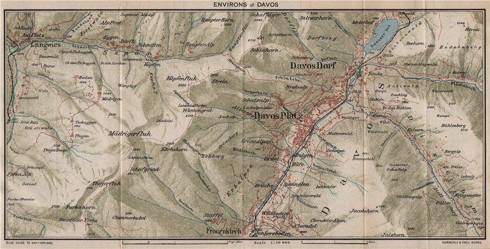 Associate Product DAVOS & ENVIRONS. Davos Dorf Davos Platz. Vintage map plan. Switzerland 1930
