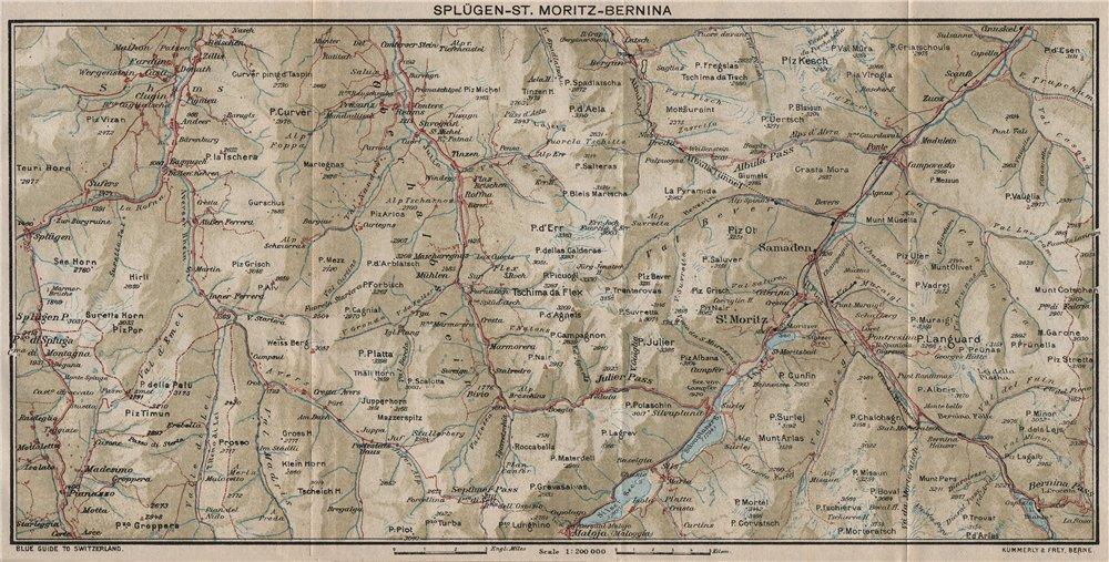 Associate Product SPLÜGEN ST. MORITZ BERNINA. Cresta Bivio Maloja Celerina. Switzerland 1930 map