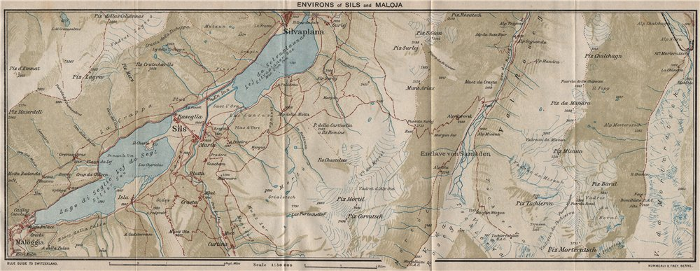 Associate Product SILS & MALOJA ENVIRONS. Silvaplana. Silsersee. Vintage map. Switzerland 1930