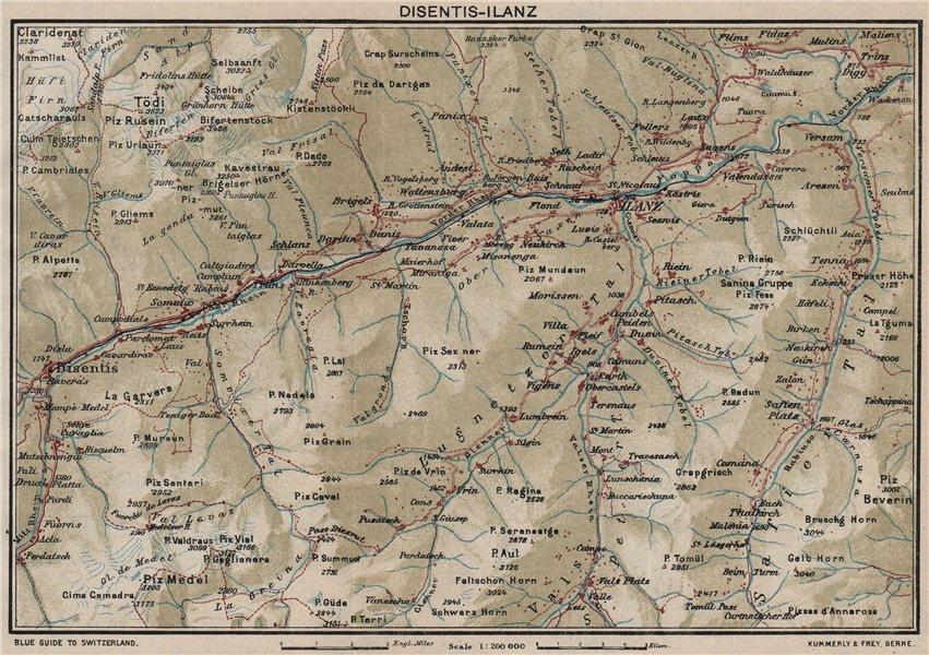 Associate Product VORDERRHEIN. Flims Laax Falera Briel Andiast Waltensburg Disentis Ilanz 1930 map