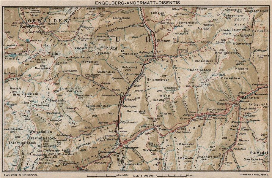 ENGELBERG ANDERMATT DISENTIS-SEDRUN. Uri Grisons Berne. Vintage map 1930