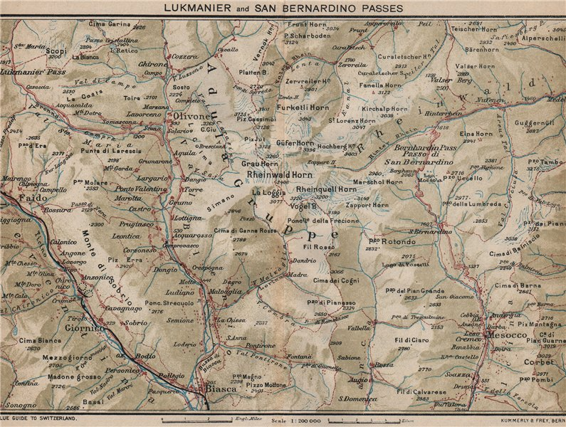 Associate Product LUKMANIER & SAN BERNARDINO PASSES. Olivoire Biasca Mesocco Nava Ticino 1930 map